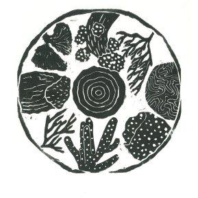 """""""Anthozoa"""", linoleum relief print, 2020"""