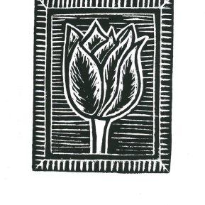 """""""Fire Tulip"""", linoleum relief print, 2020"""